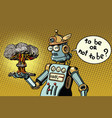 retro robot and a nuclear explosion war and vector image vector image