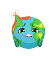 sad earth planet character with volcanoes erupting vector image vector image