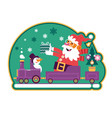 santa green with green tree and presentscute vector image vector image