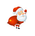 santa waving with a bag of gifts behind his back vector image