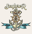 seafarer emblem in tattoo style vector image