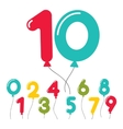 Set of birthday party balloon numbers vector image