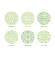 set of curved round oriental ornaments drawn with vector image