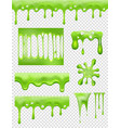 slime green glue dipping and flowing liquid drops vector image vector image