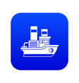 small ship icon digital blue vector image vector image