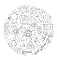 smart city circle background from line icon vector image vector image