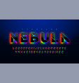 stencil futuristic sci-fi alphabet extra glowing vector image