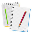 two notebooks red pen and green pencil vector image vector image