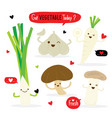 vegetable cartoon cute mushroom garlic leek vector image