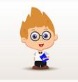 schoolboy with notebook vector image