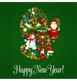 Happy New Year greeting poster in mitten shape vector image