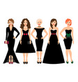 young women in black dresses vector image