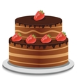 chocolate topping and fresh strawberry vector image
