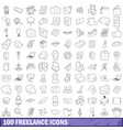 100 freelance icons set outline style vector image vector image