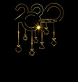 2020 happy new year gold luxury christmas balls vector image