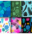 6 seamless tropical jungle floral patterns