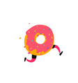 a running donut sweet donut character with legs vector image vector image