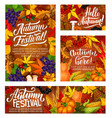 autumn harvest festival posters with vegetables vector image vector image