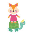 bashower cute little turtle and fox with dress vector image vector image