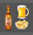 beer in bottle or mug and chips in glass bowl vector image