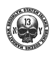 Black and white skull vector image