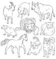 Bull-cat-dog-goat-horse-pig-rat-sheep-tiger vector image