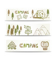camping banners horizontal set with mountain and vector image vector image