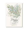 card with beautiful twigs with leaves wedding vector image vector image