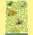 chikens and hen maze game vector image