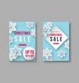 christmas sale posters with decorative snowflakes vector image vector image