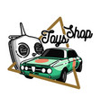 color vintage toys shop emblem vector image vector image