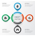 combat icons set collection of fugitive ordnance vector image vector image