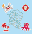 crab and octopus labyrinth game for Preschool vector image vector image