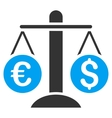 Currency Scales Flat Icon vector image vector image