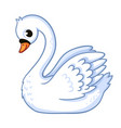 cute swan in cartoon style vector image vector image