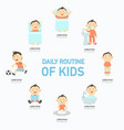 daily routine of kids infographic vector image