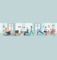 elderly people care in nursing home happy senior vector image
