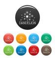 fluffy dandelion logo icons set color vector image