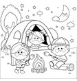 happy children in a forest camping site at night vector image vector image