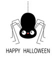 happy halloween black spider silhouette hanging vector image vector image