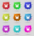 King Crown icon sign A set of nine original needle vector image vector image
