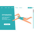 landing page swimming concept vector image vector image