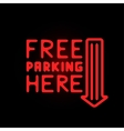 Light neon free parking label vector image vector image