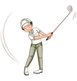 Man playing golf with golf club vector image