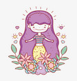 mermaid woman with hearts and flowers plants vector image vector image