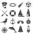 nautical icon set maritime elements marine vector image