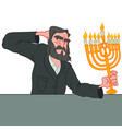 old jewish man holding menorah in his hand vector image vector image