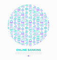 online banking concept in circle with line icons vector image vector image