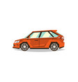 orange car hatchback side view transport for vector image