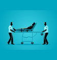 paramedic team moving injured man on a stretcher vector image vector image